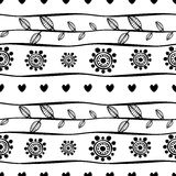 Black and white geometric endless background with ornamental decorative elements with ethnic, traditional motives. Stock Photos