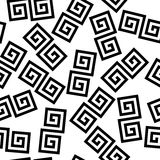 Black and white geometric greek meander spiral chaotic seamless pattern, vector Stock Photo
