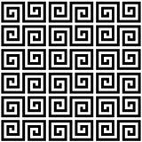 Black and white geometric greek meander spiral traditional seamless pattern, vector. Background royalty free illustration