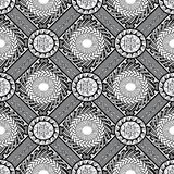 Black and white geometric greek seamless pattern. Modern vector. Ornamental background. Abstract ornaments with circles, chaines, rhombus, frames, greek key stock illustration