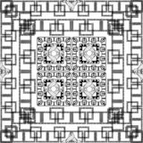 Black and white geometric greek squares seamless pattern. Vector monochrome ornamental checkered background. Geometry plaid repeat. Backdrop. Greek key meanders vector illustration