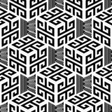 Black and white geometric greek style vector seamless pattern. Abstract monochrome creative background with 3d cubes, lines, stripes, zigzag. Greek key meander vector illustration
