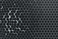 Black-white geometric hexagonal abstract background. 3d rendering Stock Photography