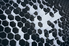 Black-white geometric hexagonal abstract background. 3d rendering Stock Photos
