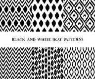 Black and white geometric ikat asian traditional fabric seamless patterns set of six, vector. Collection Vector Illustration