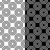 Black and white geometric prints. Set of seamless patterns. For web, textile and wallpapers Stock Photos