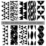 10 black and white geometric seamless pattern. Abstract background. Vector seamless pattern Stock Illustration