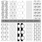 10 black and white geometric seamless pattern. Abstract background. Vector seamless pattern Royalty Free Illustration