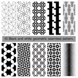 10 black and white geometric seamless pattern. Abstract background. Vector seamless pattern Vector Illustration