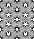 Black and white geometric seamless pattern with line and flower Royalty Free Stock Photos