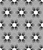 Black and white geometric seamless pattern with line and flower Royalty Free Stock Photography