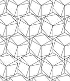 Black and white geometric seamless pattern with line and hexagon