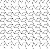 Black and white geometric seamless pattern with line and rhombus Stock Images