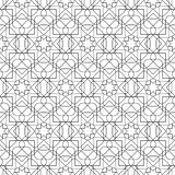 Black and white geometric seamless pattern with line and round c Stock Photography