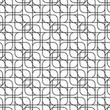Black and white geometric seamless pattern with line and round c Stock Images