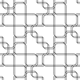 Black and white geometric seamless pattern with line and round c Stock Photo