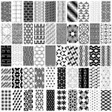 50 black and white geometric seamless pattern set. Stock Images