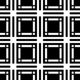 Black and white geometric seamless pattern with square and recta Stock Image
