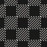 Black and white geometric seamless pattern with squares, stripes, diagonal lines, squares. royalty free illustration
