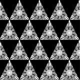 Black white geometric seamless pattern with triangle, abstract background, vector.  Royalty Free Stock Photography