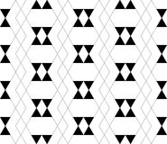 Black and white geometric seamless pattern with triangle and tra Stock Image