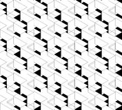 Black and white geometric seamless pattern with triangle and tra Stock Images