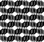 Black and white geometric seamless pattern with triangle and tra Stock Photos