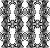 Black and white geometric seamless pattern with wavy line, abstr Stock Image