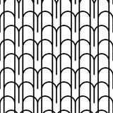 Black and white geometric seamless pattern with wavy line Stock Image