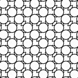 Black and white geometric seamless pattern with wavy line and ci Stock Photos