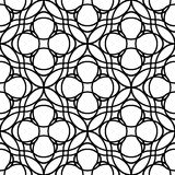 Black and white geometric seamless pattern with wavy line and ci Royalty Free Stock Photography