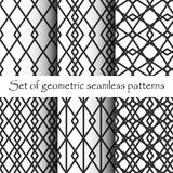 Black and White Geometric Seamless Patterns Royalty Free Stock Image