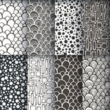 Black and white geometric seamless patterns se. Vector illustration, template for decoration and design Stock Images