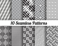 Black and white geometric seamless patterns. Set of 10 Abstract patterns. Black and white geometric seamless backgrounds Vector Illustration