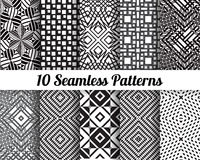 Black and white geometric seamless patterns. Set of 10 Abstract patterns. Black and white geometric seamless backgrounds Royalty Free Illustration