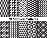 Black and white geometric seamless patterns. Set of 10 Abstract patterns. Black and white geometric seamless vector backgrounds Stock Illustration