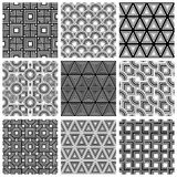 Black and white geometric seamless patterns set,  backgrou Stock Images