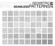 Black and white geometric seamless patterns set. Royalty Free Stock Photos