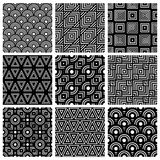 Black and white geometric seamless patterns set, vector backgrou Royalty Free Stock Images