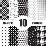 Black and White Geometric Seamless Patterns set Royalty Free Stock Photo