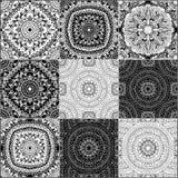 Black and white geometric tiles Stock Photos