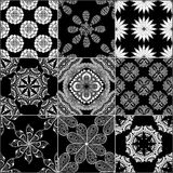 Black and white geometric tiles Stock Images