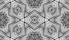 Black and white Geometric Watercolor. Creative Sea. Mless Pattern. Hand Drawn Stripes. Brush Texture. Imaginative Chevron Ornament. Fabric Cloth Swimwear Design stock photos
