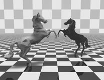 Black and white geometrical horse figurines on checkerboard background. Black and white geometrical horse figurines on checkerboard background, fight abstract Stock Image