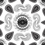Black and white geometrical paisley seamless repeatable vector pattern. Royalty Free Stock Images