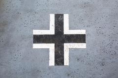 Black and white german cross from world war II. Worn black and white german cross from world war II on an old tank Stock Images