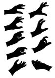Black and white gestures of hands collection. Gestures of hands collection. Black silhouettes on white Stock Image