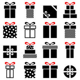 Black and White Gifts Icons Collection. Collection of 16 black and white gift icons, isolated on white background. Eps file available Royalty Free Stock Images