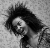 Black and white girl. Beauty black and white girl screaming on wallpapers background Stock Photography