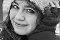 Black&White girl smiling in winter Stock Photo